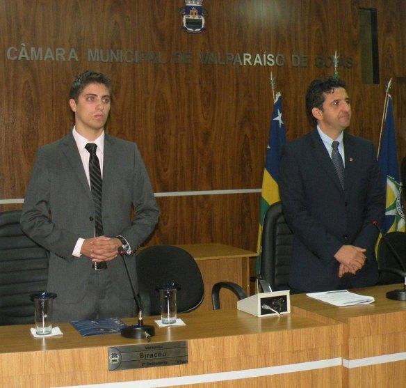 Vereador Marcus Vinicius (primeiro à esquerda) e o presidente da CMVG, Afrânio Pimentel. Reprodução