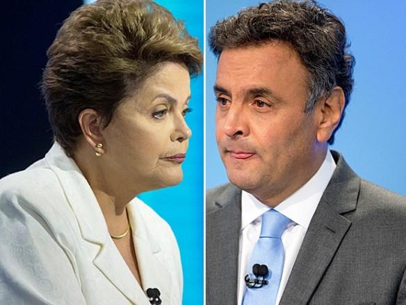 Dilma e Aécio no debate da Record. Reprodução