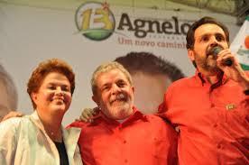 Dilma, Lula e Agnelo em comício na cidade de Valparaíso de Goiás, na eleição de 2010. Reprodução
