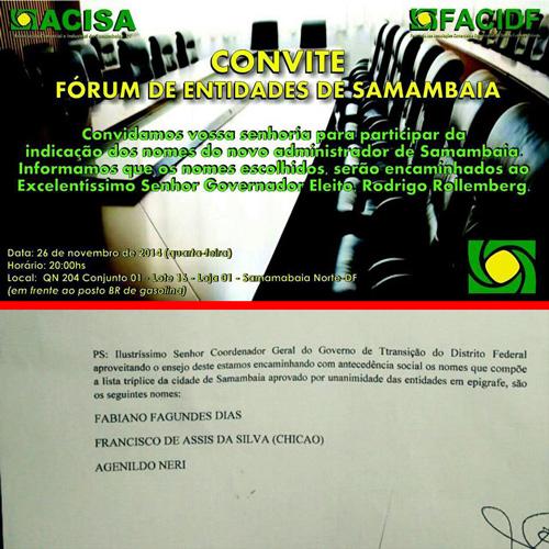 Convite anuncia Fórum para 26 de novembro para escolha de administradores, mas lista tríplice já foi entregue ao coordenador da equipe de transição do governador eleito Rodrigo Rollemberg, Hélio Doyle. Reprodução