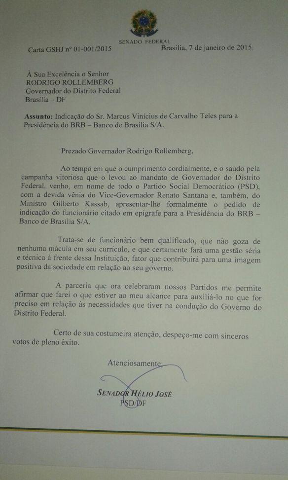 Ofício do senador Hélio indicando Marcus Vinícius ao BRB, em nome do PSD.